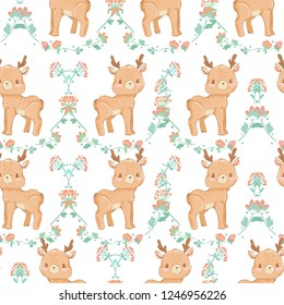 Pattern seamless background with a deer in flowers. Design fabric. vector illustration.