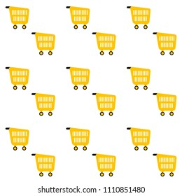 Pattern seamless background with pushcart for retail and shop, cart basket and pushcart endless backdrop