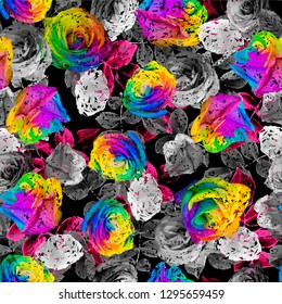 Pattern seamless Beautiful Rainbow Roses colorful petals black background