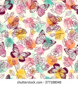 Pattern seamless pattern with butterflies and roses. Freehand drawing.