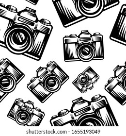 pattern seamless of camera in style vintage, retro, engraved. - vector illustrations