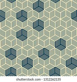 pattern is seamless, geometric, monochrome, axonometry, cube