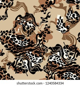Pattern seamless. Leopard skin texture for fashionable fabric. Abstact background trend textiles. Vector Illustration. Design Print.
