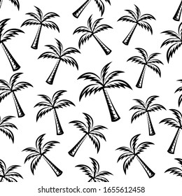 pattern seamless of palm tree in style vintage, retro, engraved. - vector illustrations