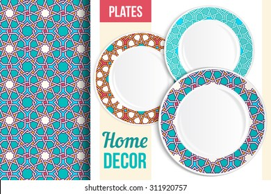 Pattern and Set of 3 matching decorative plates with this pattern applied. Top view of three empty plates, islam eastern pattern. Pattern in background is seamless, not cropped. Vector illustration.