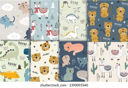 pattern set with different animals for kids clothes nursery,fabric