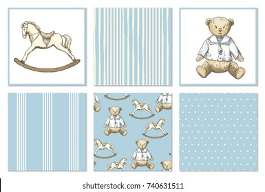 Pattern set with hand drawn bear and rocking horse in vintage style. Vector set in blue and beige colors. Perfect for kids textiles, wallpaper and prints.