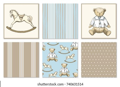 Pattern set with hand drawn bear and rocking horse in vintage style. Vector set in blue and brown colors. Perfect for kids textiles, wallpaper and prints.