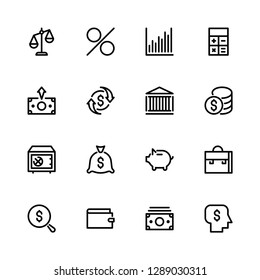 Pattern from the Set of icons on the theme of money, bank, investment, in a linear style in black