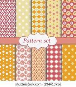 Pattern set orange and pink