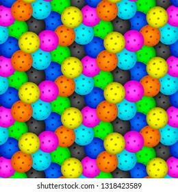 Pattern of seven pickleball balls - vector graphics