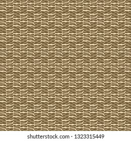Pattern in shades of tobacco and ivory, composed of abstract shapes or signs arranged alternately on vertical rows. Decorative graphics. Abstract knit background. Vector illustration.