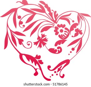 The pattern in the shape of the heart. Can be used as fully or partially. It is easy to change.