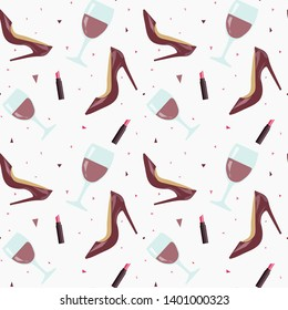 Pattern with shoes, lipstick and a glass of wine.