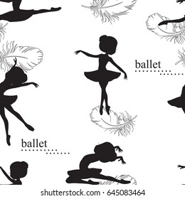 Pattern with silhouette of ballerinas and feather of swan. Retro seamless pattern. Hand drawn illustration.