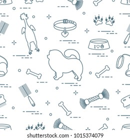 Pattern of silhouette chow-chow dog, bowl, bone, brush, comb, toys and other items to care for pet. Design for banner, poster or print.