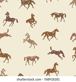 Pattern with silhouette horses in various poses and motion. Seamless vector background with hand drawing horses. Brown color England equestrian sport traditional style for trendy fashion fabric.
