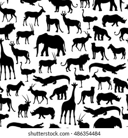 Pattern With Silhouettes Of African Animals