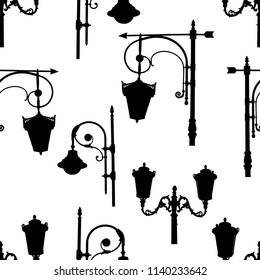 Pattern of the silhouettes of old street lights