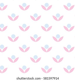 Pattern with simple blue flowers and pink leaves on the white background.