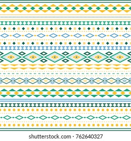 A pattern of simple geometric figures arranged horizontally. The pattern is dominated by yellow and green hues.