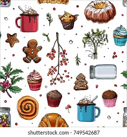 Pattern sketch Christmas sweets. Baking drawn line is not white. Color sketch of food. Mug with cocoa, muffin, ginger biscuits, a can of lollipops. Sweets, Christmas treats.