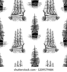 Pattern of sketches of sailing ships