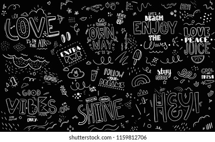 Pattern with slogans for tee print. Typography for t shirt.