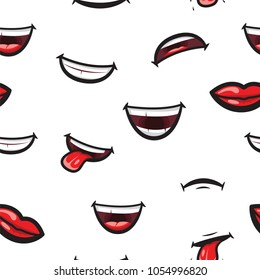 Pattern smiling lips, mouth with tongue, white toothed smile and sad expression mouth and lips. Lips and mouth expressing different emotions, funny and sad smiles on white pattern background