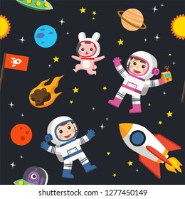 Pattern of space. Space elements. Planet earth, sun and galaxy, spaceship and star, moon and small kids astronaut, pattern illustration.