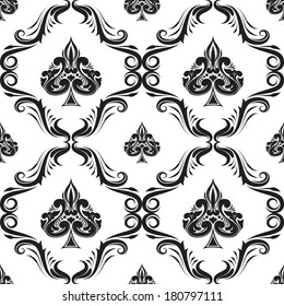 Pattern Spades Ornamental Black and White