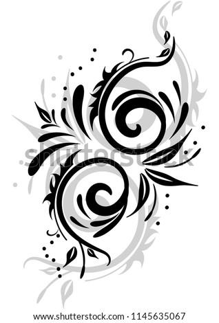 pattern spiral swirls tattoo template stock vector royalty free
