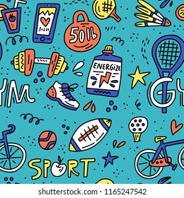 Pattern with sport symbols in vintage colors