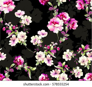 Pattern with spring flowers Pattern with spring flowers  with branch, on black background with flower silhouette