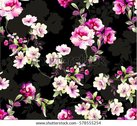 Pattern spring flowers pattern spring flowers stock vector royalty pattern with spring flowers pattern with spring flowers with branch on black background with flower mightylinksfo