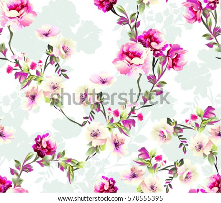 Pattern Spring Flowers Pattern Spring Flowers Stock Vektorgrafik