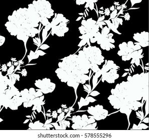 Pattern with spring flowers silhouette