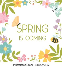 Pattern of spring plants, flowers, leaves, butterflies. In the middle is the Spring is coming text. Advertising billboard outline design.