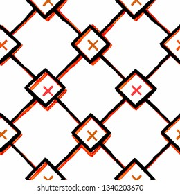 Pattern with squares and rhombuses and red crosses. Vector seamless print. Modern stylish texture.