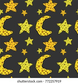 The pattern with the stars and the growing moon. Night sky. Children background. The moon is like cheese.