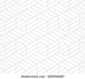 Muster mit gerade grauen Linien und geometrischen Formen auf weißem Hintergrund. Nahtlose abstrakte monochrome lineare Struktur. sechseckiger Hintergrund. Lineares Grafikdesign für Textil, Stoff und Verpackung.