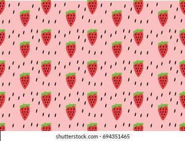 Pattern Strawberry -hipste style