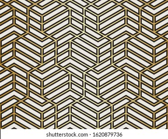 Pattern with with stripes, poligons and hexagonal elements. Trendy design with golden geometric shapes. Stylish seamless print, Repeating abstract background. Mosaic texture, decorative lattice.