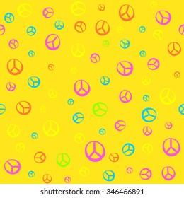 The pattern in the style of Hippie - 60's 70's. Psychedelic texture, bright colors. Fun pattern for children and adults. Simple pattern
