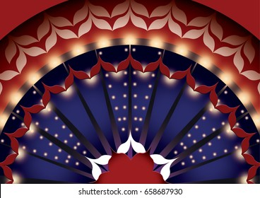 Pattern in the style of the Moulin Rouge. Red and white pattern. Vintage background with show light.