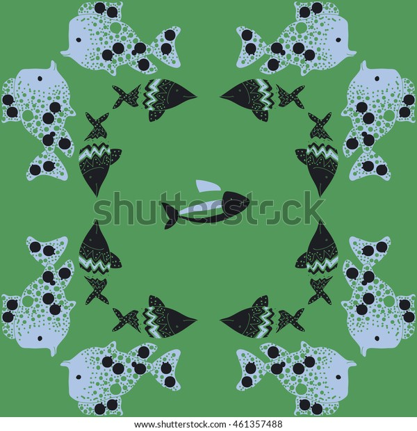 Pattern of  stylized  sea motif, doodles,  spot,fishes,ellipses, zigzag . Hand drawn.