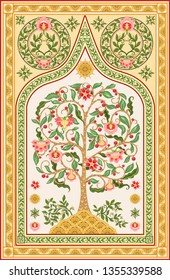 Pattern with stylized tree of life in retro, vintage style. Jacobean embroidery. Colored vector illustration In soft orange and green colors. Persian, indian carpet  motif.