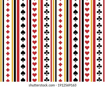 Pattern suits of playing cards. Spades, Hearts, Clubs, Diamonds. Striped background.