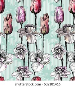 Pattern with summer flowers with graphic, daffodilly, narcissus,lily,tulips with baroque elements swirls on backdrop on  turquoise background with stripes