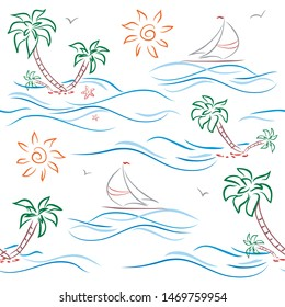 Pattern with sun, starfish, palm,  sailboats. background. Vector illustration pattern with summer symbols